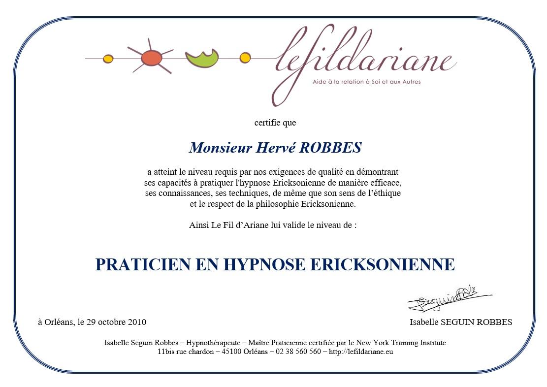 Certificat d'hypnothérapeute basé à Orléans